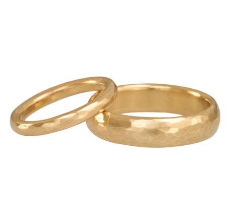 Hammered Gold Wedding Bands
