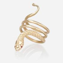 14k yellow gold Cleopatra Snake Ring