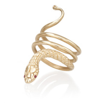 14k Cleopatra Snake Ring with Ruby Eyes