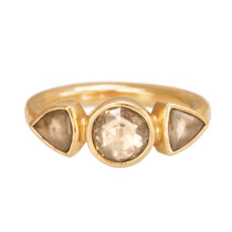 18k Yellow Gold Champagne Diamond Ring