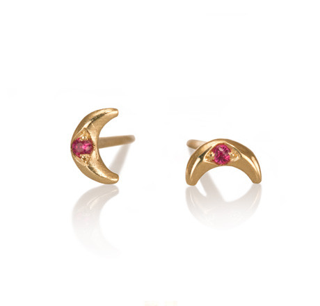 Crescent Studs with Rubies