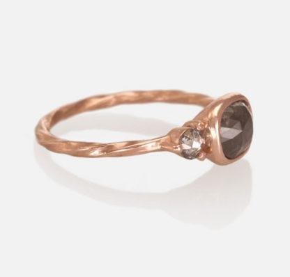 Custom 14k Rose Gold Engagement Ring Side