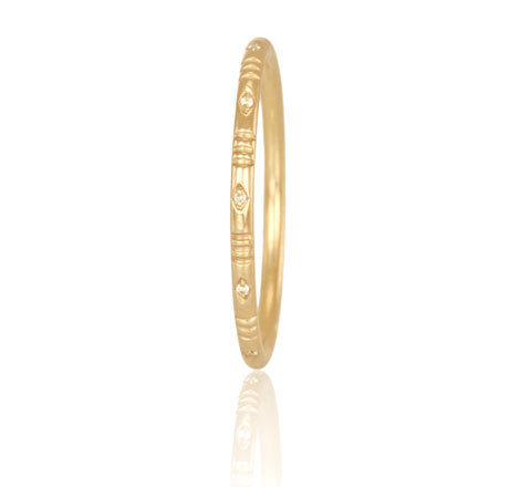 18k Yellow Gold Diamond Line Ring