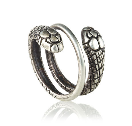 Double Snake Ring Silver