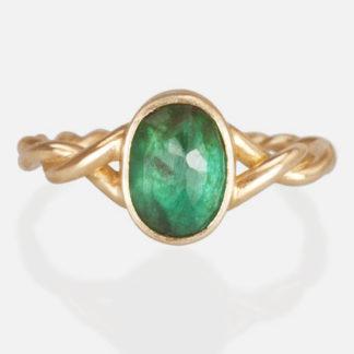 Emerald Twist Ring