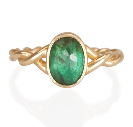 Emerald Twist Ring