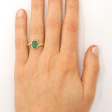 Emerald Twist Ring on Hand