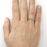 Silver Small Twist Ring on Model