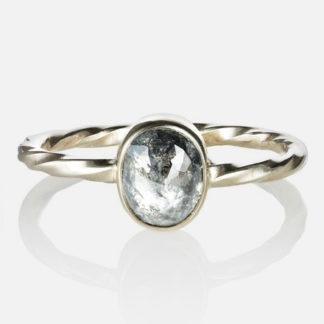 Vertical Oval Diamond Old World Ring