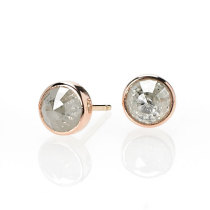 Old World Diamond Pink Gold Studs