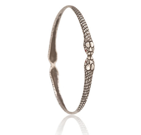 Silver Snake Bangle with Ruby Eyes