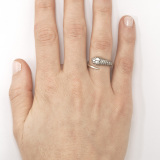 Silver Single Snake Ring on Model