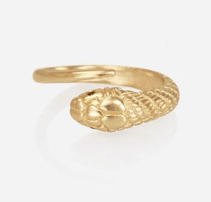 14kt Single Snake Ring with Black Diamond Eyes