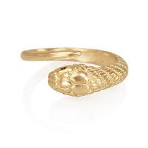 14ky Single Snake Ring with Black Diamond Eyes