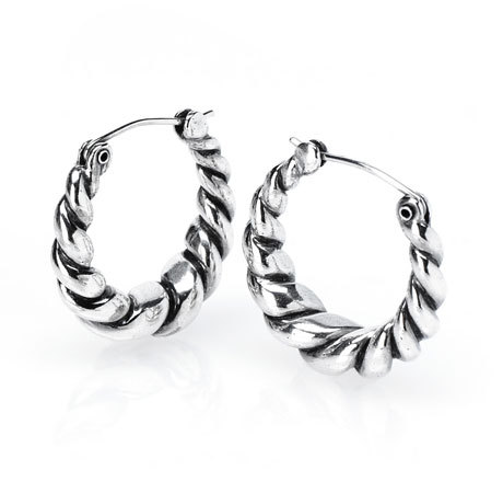 Small Twist Hoops Silver