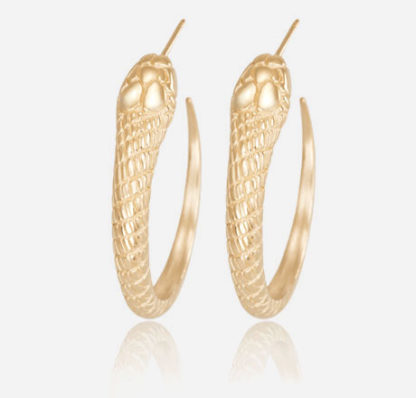 Snake Hoops 14k yellow gold