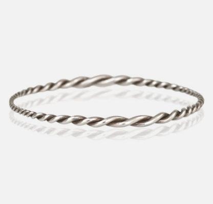 Twist Bangle Bracelet Sterling Silver Top