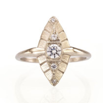 18k white gold Flapper Ring