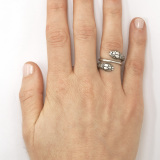 Silver Double Snake Ring on Model