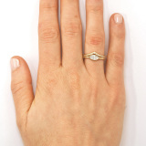 18k yellow gold Marquise and Diamond Archer Ring on Model